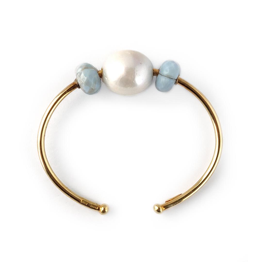 Pulsera BABY con aguamarinas y perlas