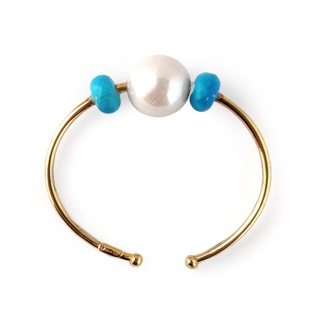 Pulsera BABY con turquesas y perlas